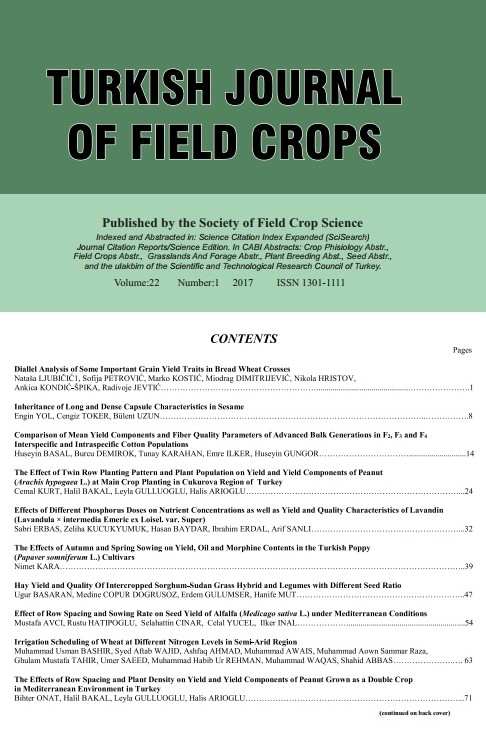Turkish Journal Of Field Crops